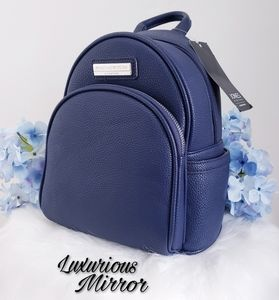 Jones New York Pebbled Navy Faux Leather Backpack
